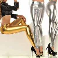 2017 New Women Sexy Leggings Faux Leather Stretch Legging High Waist Leggings Juniors Pants gold and silver