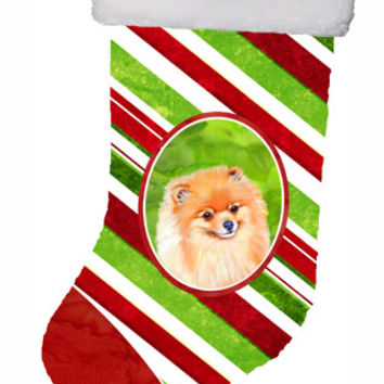 Pomeranian Candy Cane Holiday Christmas Christmas Stocking LH9260