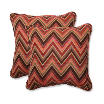 Pillow Perfect 547008 Fischer Brown and Pink Square 18.5-Inch Throw Pillow with Sunbrella Sunset Fabric, Set of 2