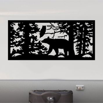 Bear Forest Mountains RV Camper 5th Wheel Motorhome Vinyl Decal Sticker Graphic Custom Text Mural