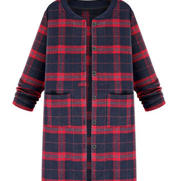 'Blake' Longline Plaid Button Down Jacket