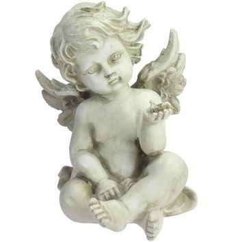 MDIGMS9 7.75' Light Olive Green Cherub Angel with Baby Bird Outdoor Garden Figure