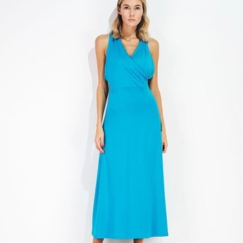 Lake Blue V Neck Vest Dress