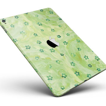 "Cute Watercolor Flowers over Green Full Body Skin for the iPad Pro (12.9"" or 9.7"" available)"