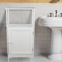 White Bathroom Shelving for Paper Roll