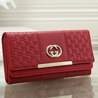 Gucci Women Leather Solid Purse Wallet