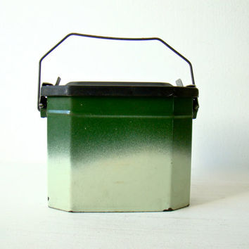 french enamelware canteen lunch box / canister set, two toned green french lunch box
