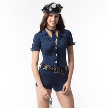 Sexy Police Women Costume Adult Cosplay Romper