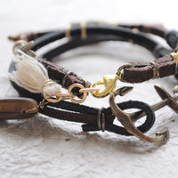 Summer Bracelet No27 Leather cord and little by littlejarofhearts