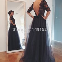 Sexy Boat Neck Black Tulle Evening Dresses 2016 New Backless  Prom Party Gown vestido de festa long