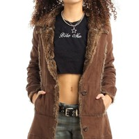 Vintage Y2K Vegan Suede Plush Furry Jacket - XS
