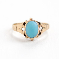 Antique 10k Rose Gold Blue Turquoise Stone Victorian Ring - Early 1900s Edwardian Blue Gem Fine Jewelry Hallmarked M.B. Bryant & Company