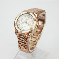 Thank you Best Sister Gift Card Woman Stainless Steel Thin Band Fashion Wristwatch Rose Gold Watch