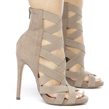 CAGNEY CAGED SUEDE BOOTIE -  TAUPE