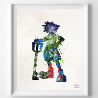 Kingdom Hearts, Sora, Print, Watercolor, Illustrations, Art, Poster, Wall Art, Gameboy, Video Game, Home Decor, Movie Poster, Geek [NO 701]