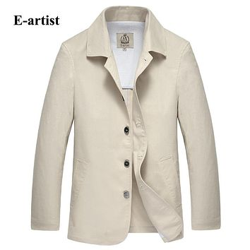 New Arrival Men Slim Fit Casual Jackets Coats Linen Cotton Outerwear Solid Overcoat 4 Color