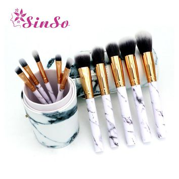 SinSo 10pcs Professnial Women Makeup Brushes Soft Makeup Brush Set Foundation Powder Brush Marble Make Up Tools With Cylinder