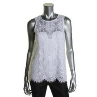 Nicole Miller Womens Lace Sleeveless Pullover Top