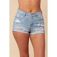 Sandra Mid Rise Distressed Shorts (Light Wash)