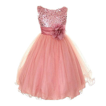 Style Sleeveless Kids Baby Girls Dresses Sequin Flower Back Bowknot Wedding Party Tutu Dress SM6