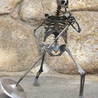 Zombie Skeleton Lead Singer Steel Sculpture