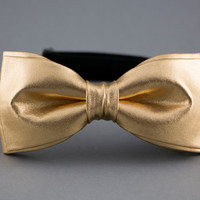 Gold Bow Tie for Men Shiny Mens Bow Tie New Year Bow Tie Party Women Bow Tie Golden BowTie | Optional Two Bow Ties for Father & Son