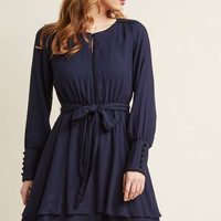 Tiered Long Sleeve Dress with Piping