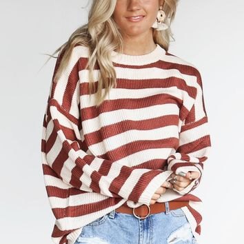 Roll With It Brick & Cream Stripe Knit Pullover Sweater