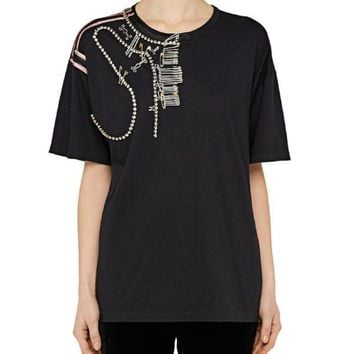 No.21 Embellished T-Shirt  With Pins and Embroidery