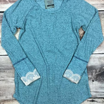 Lace Sleeve Thermal in Jade
