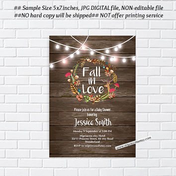 fall in love, rustic , Bridal Shower OR Baby Shower , Bridal, baby invitation,  Autumn  wedding newbaby Invitation - card 1010