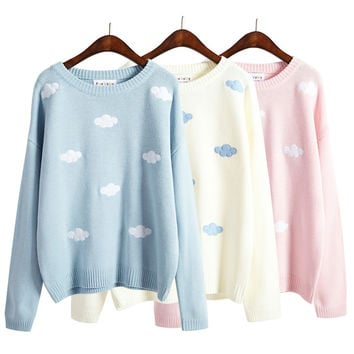 2016 women sweaters and pullovers korean new winter style coats kawaii harajuku cute 3D clouds pullover oversized sweater women