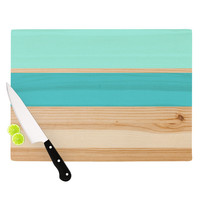 "KESS Original ""Spring Swatch - Blue Green"" Teal Wood Cutting Board"