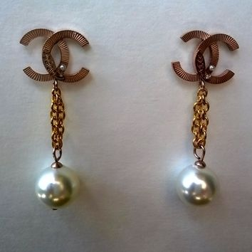 Adorable Designer Inspired Modern Faux Pearl Earrings