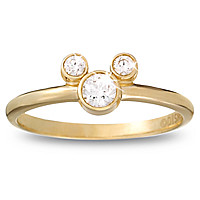Diamond Mickey Mouse Petite Icon Ring - 14K Yellow Gold