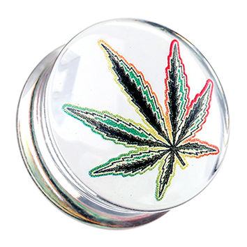 Cannabis Leaf Clear UV Double Flared Ear Gauge Plug