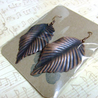 CLEARANCE - Autumn Leaves Brown Copper Leaf Earrings