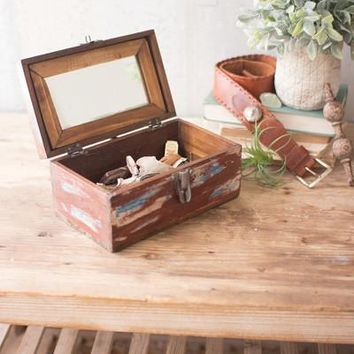 Recycled Wood Vanity Box With Mirror