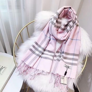 Burberry Popular Woman Cashmere Sunscreen Cape Scarf Scarves Shawl Accessories Pink