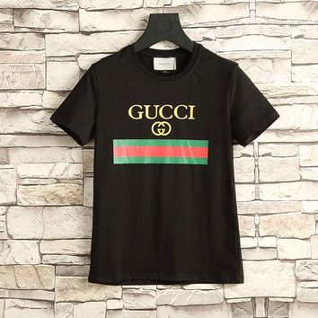 Gucci Women or Men Fashion Casual Pattern Print Shirt Top Tee