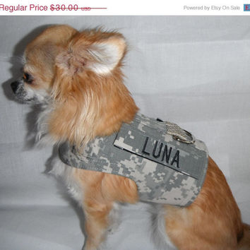 ON SALE Army ACU Dog Harness with your Dogs Name/Service Tab - Size Xs, S, M