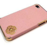 Slim fit baby pink leather Iphone 4/ Iphone 4s case with by Yoju