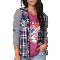 LA Hearts Oversized Button Down Shirt - Womens Shirts - Plaid