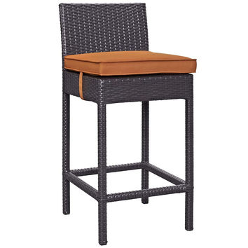 Orange Convene Outdoor Patio Fabric Bar Stool