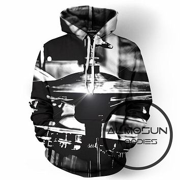 ALMOSUN Drums Musical Instruments 3D All Over Print Pullover Hoodies Hip Hop Hipster Jumper Band Sportwear Men Women
