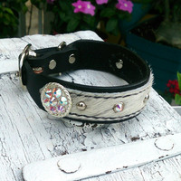 Concho Dog Collar, Hair On Hide, LEATHER COLLAR, Swarovski Crystal, Pet Collar, Black Leather Collar, 14 inch Collar