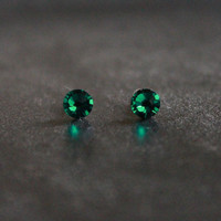 Post Earrings, Small stud earrings,  Swarovski  Emerald Green Studs, Surgical Steel Studs