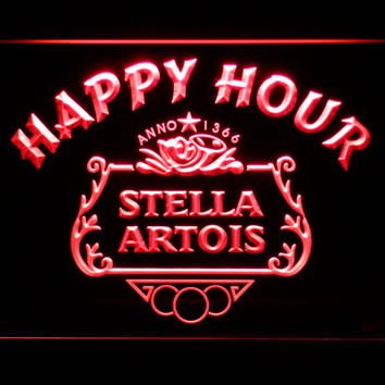 Stella Artois Beer Happy Hour Bar LED Neon Sign with On/Off Switch 7 Colors to choose