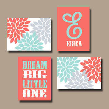 Coral Gray Wall Art Canvas Nursery Artwork Girl Child Flower Custom Monogram Name Dream Big Monogram Set of 4 Prints  Baby Decor  Crib