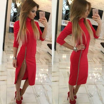 LMFON Fashion Zip Solid Color Bodycon Turtleneck Long Sleeve Maxi Dress